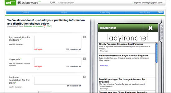 Ovi Publisher Information