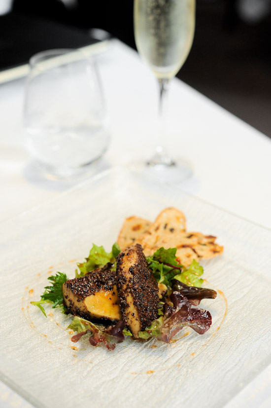 Cocoa bean crusted foie gras