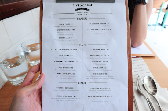 Five and dime menu
