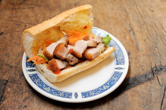 Roast pork baguette