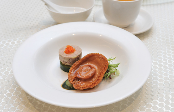 Chilled Foie Gras and whole Abalone