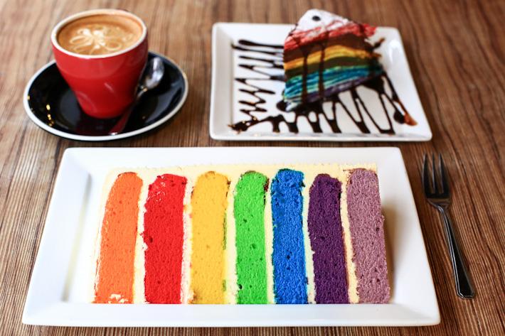Rainbow cake crepe