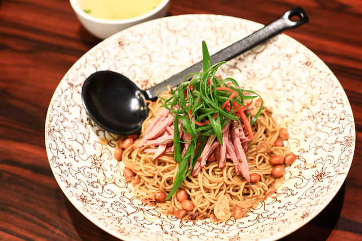 Noodles with pan-fried duck