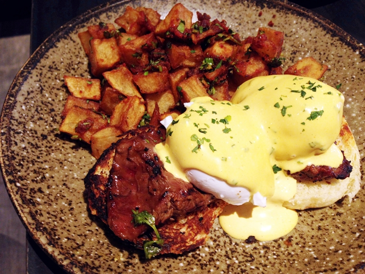 Forty Hands Eggs Benedict on Juicy Steak