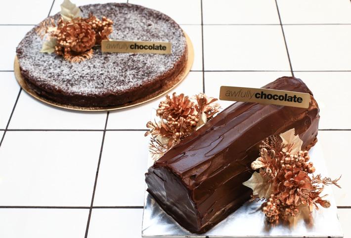 Awfully Chocolate Christmas Log Cake