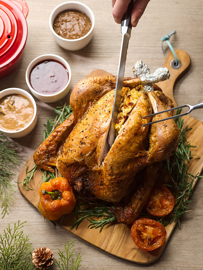 Roast Turkey with Risotto and Salted Egg Stuffing