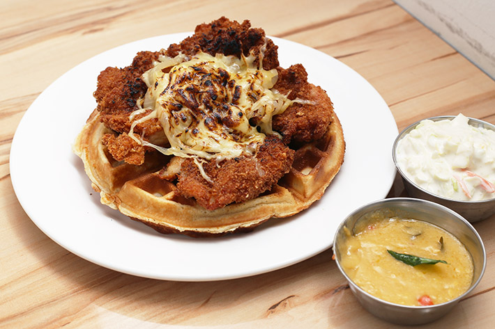 Salted Egg Chicken Waffles