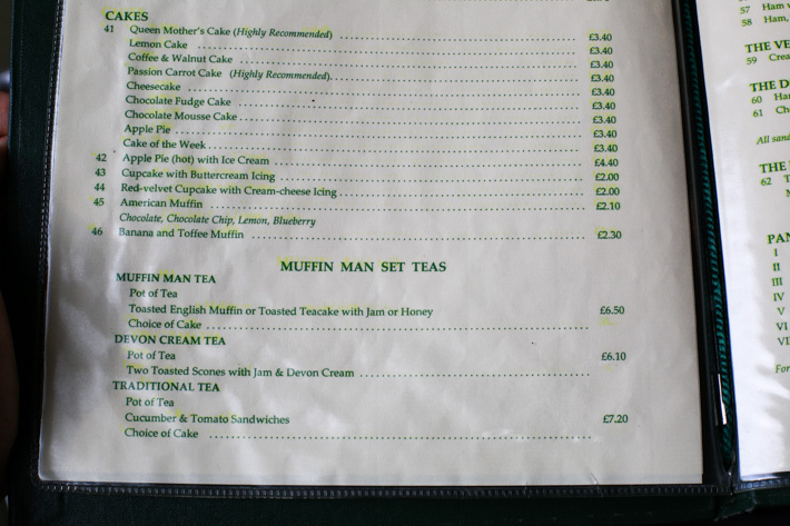 The Muffin Man Menu