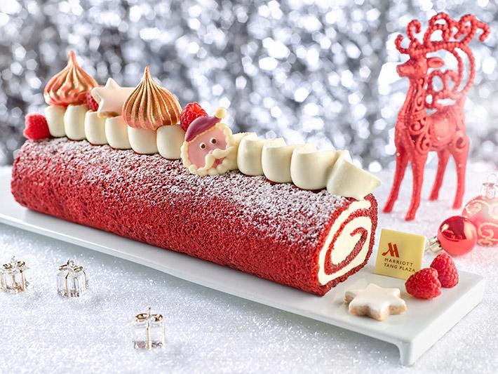 Marriott Red Velvet Yule Log Cake