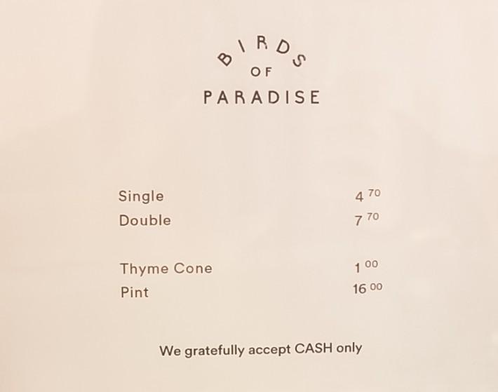 Birds of Paradise Gelato Menu