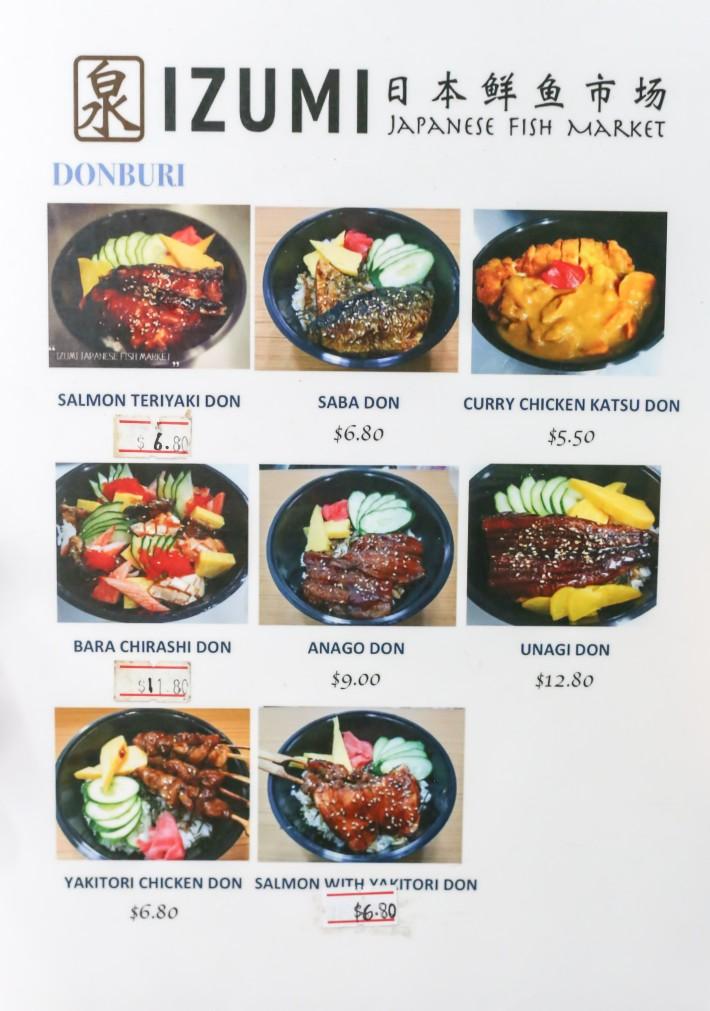 Izumi Japanese Fish Market Menu