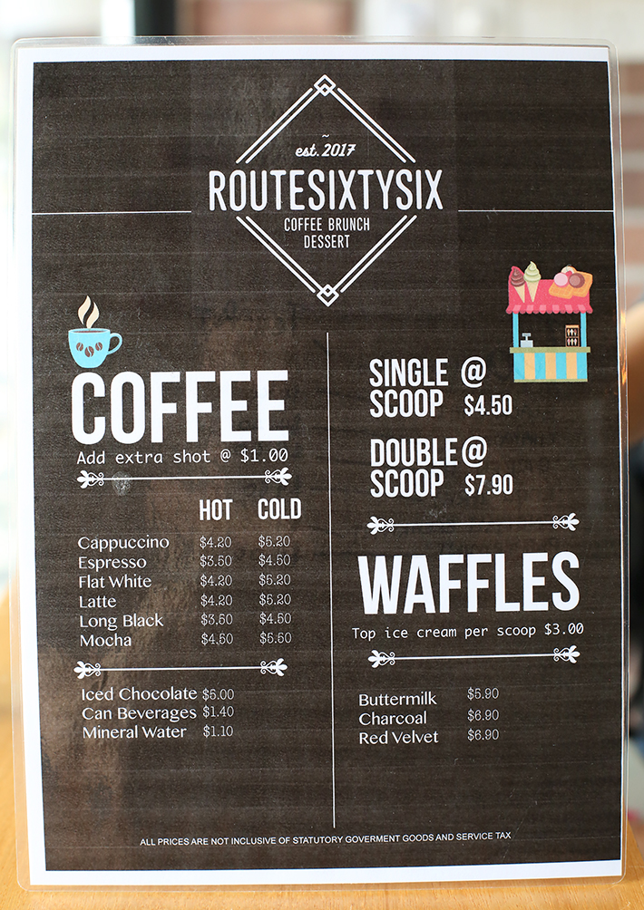 Route Sixty Six Menu
