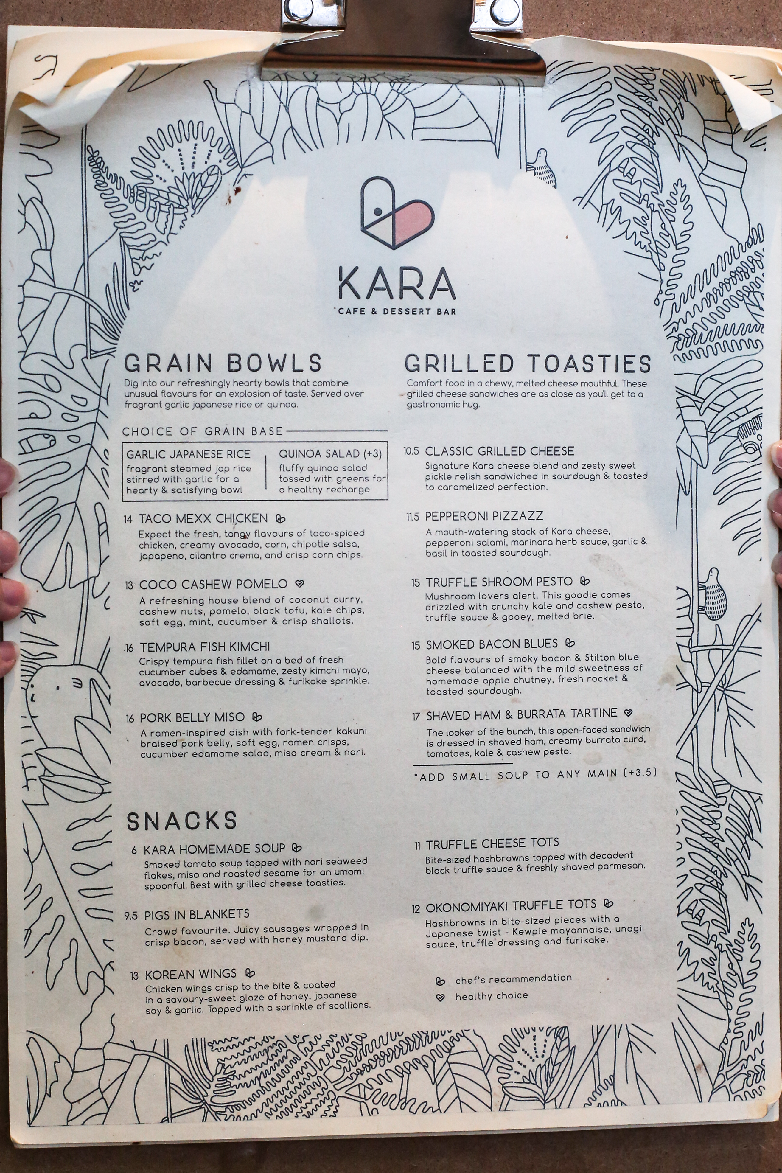 Kara Cafe & Dessert Bar Menu