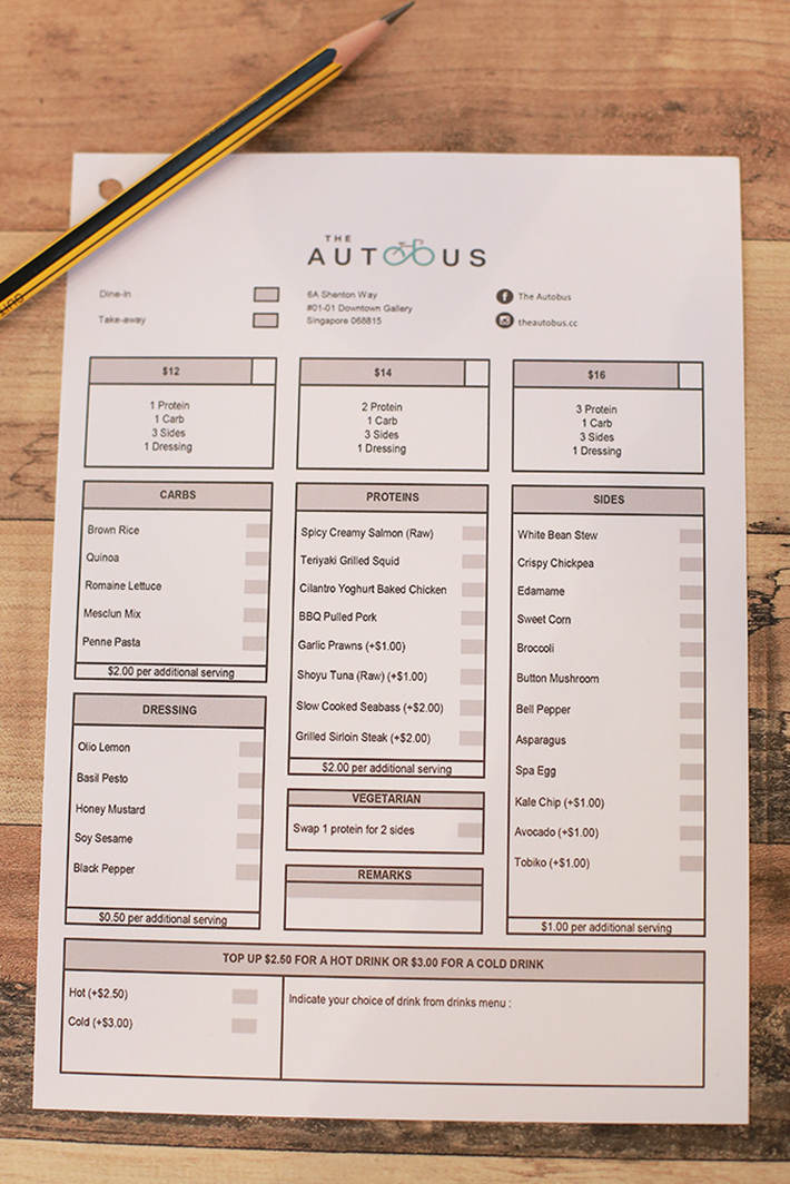 The Autobus Menu
