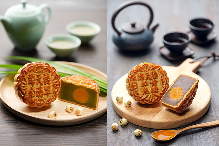 Hai Tien Lo Pandan & Caramel Mooncake Collage
