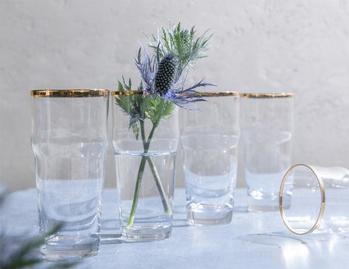 12 Gold Rim Glass Cup