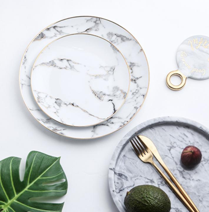 14 Gold Rim White Marble Plates