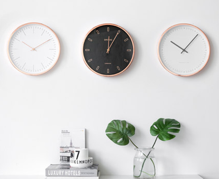 21 Minimalist White/Rose Gold Wall Clock