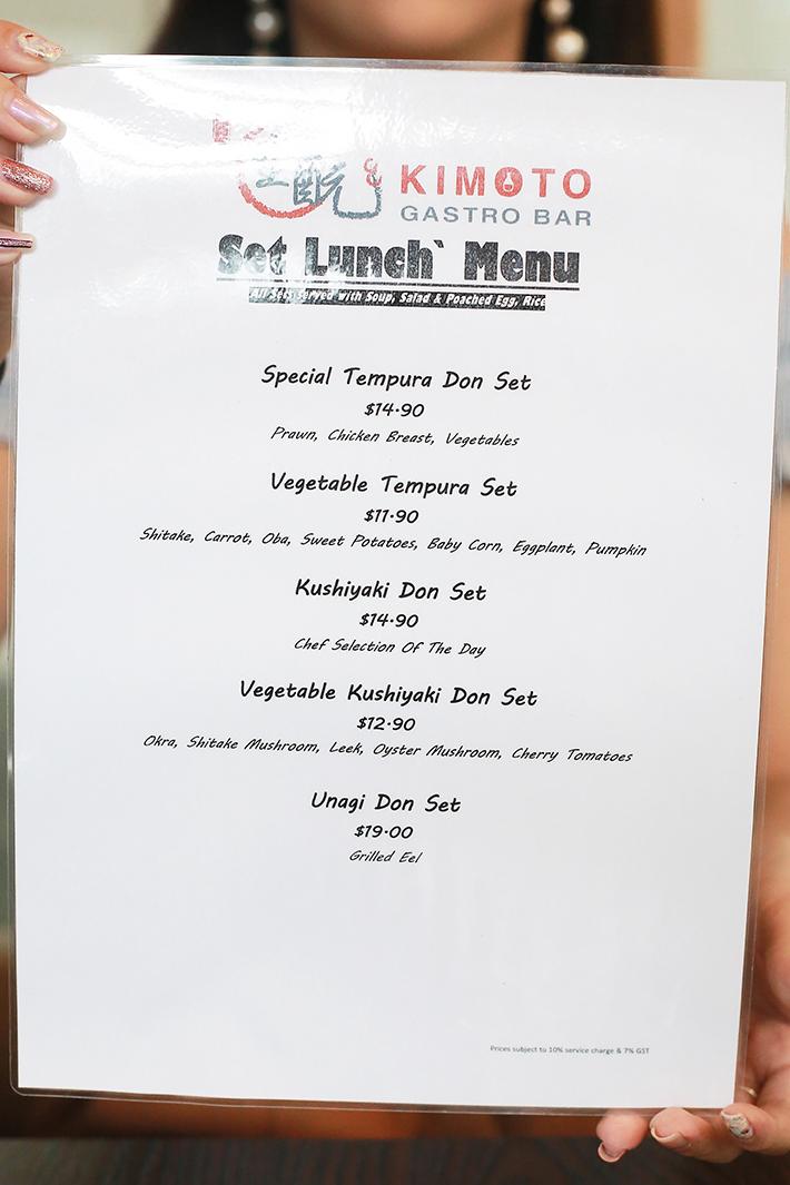 Kimoto Gastro Bar Menu