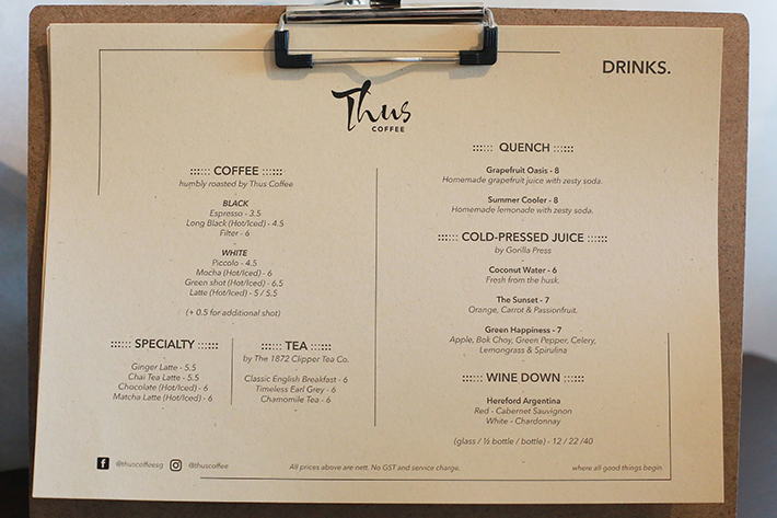 Thus Coffee Menu 2