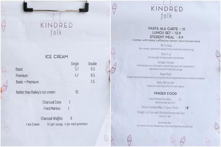 Kindred Folks Menu