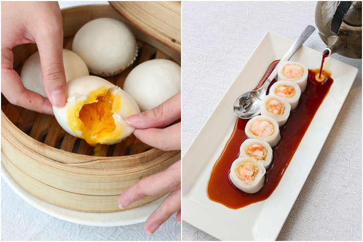 Song Garden Steamed Custard Bun & Shrimp Mousse on Silver Tread Cheong Fun