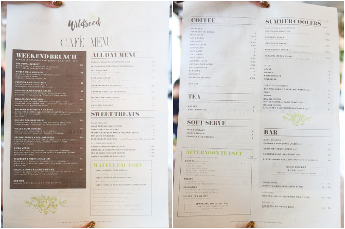 Wildseed Cafe & Bar Menu