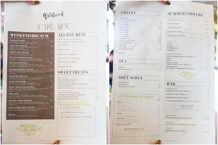 Wildseed Cafe & Bar Menu