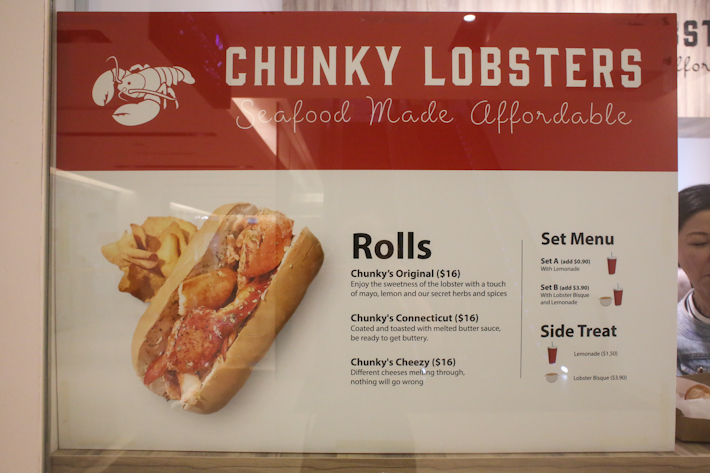 Chunky Lobsters Menu