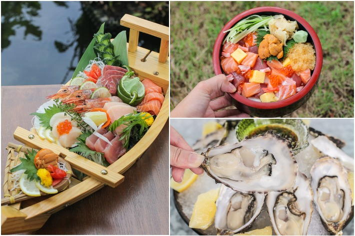 Tsukiji Sashimi and Oysters Collage