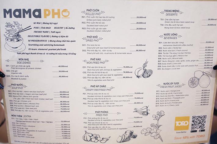 Mama Pho HCMC Menu