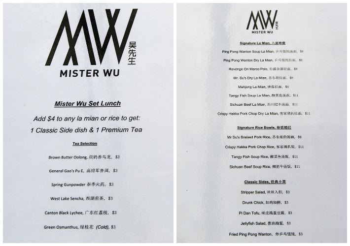 Mister Wu Menu