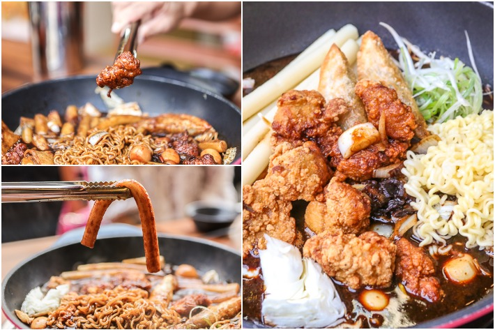 Red Holic Crispy Chicken Jjajang Tteokbokki Collage