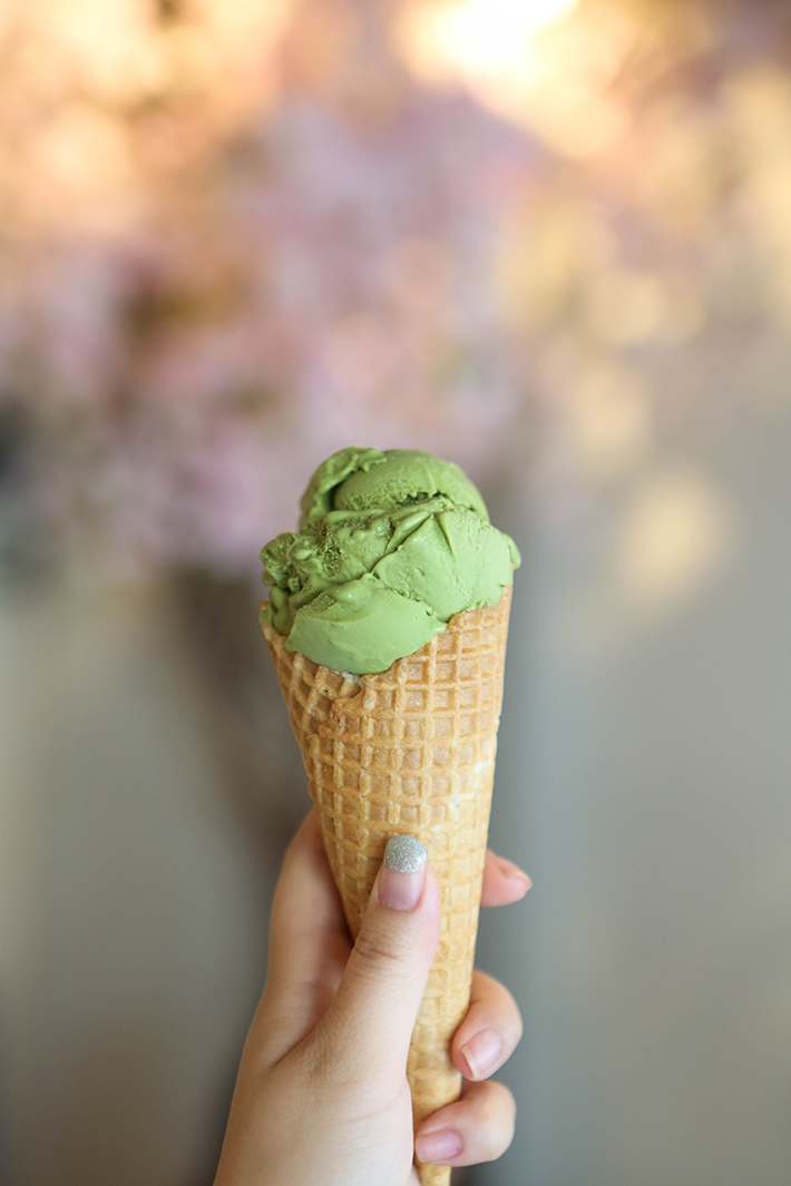 Wishes Cafe Matcha Gelato On Waffle Cone