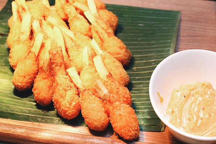 sugarcane prawn curry mayo ginger