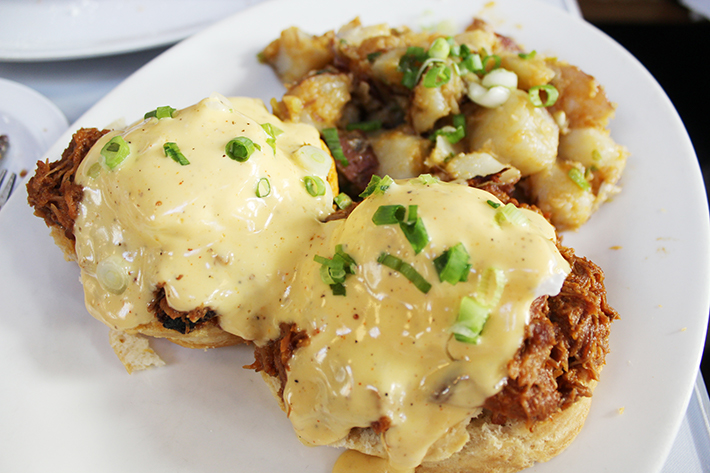 Brenda's French Soul Food Our Eggs Benedict Pulled Pork