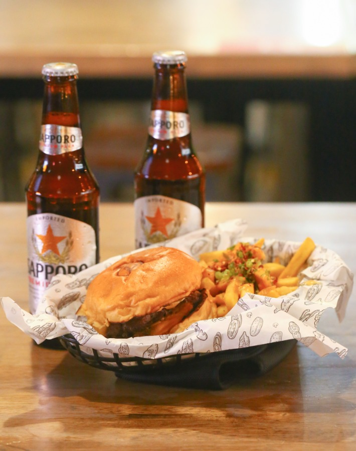 Burg's Classic Cheeseburger with Sapporo Beer