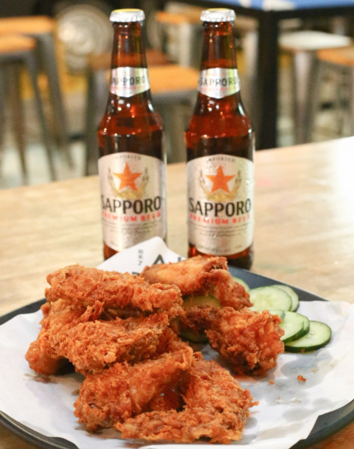 Har Cheong Gai Wings with Sapporo Beer