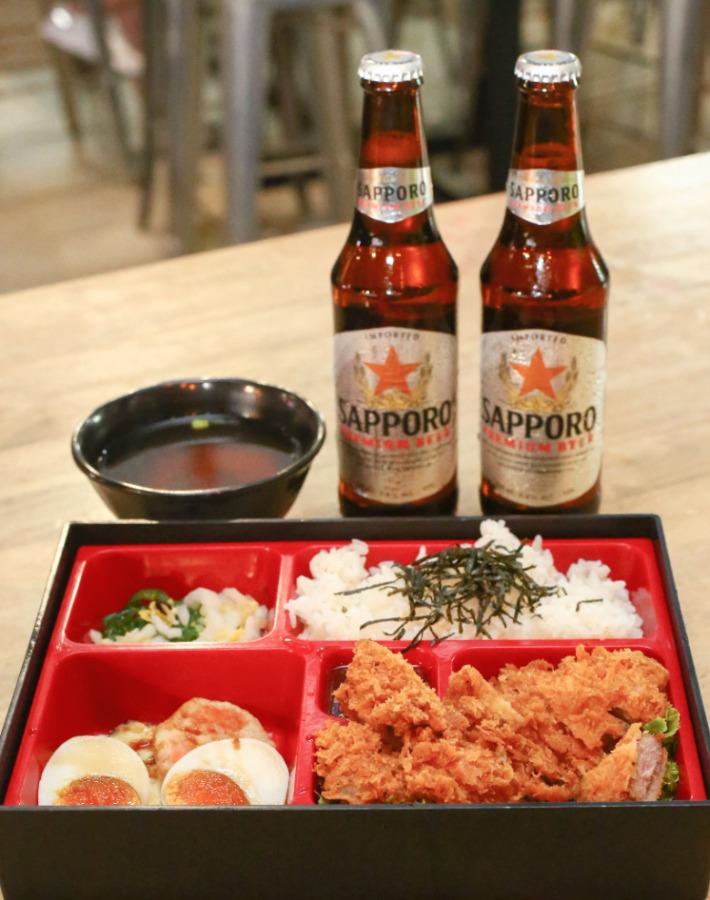 Tonkatsu Bento with Sapporo Beer