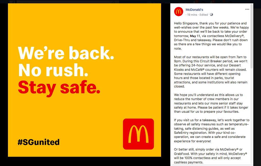 Mcdonald Singapore FB page
