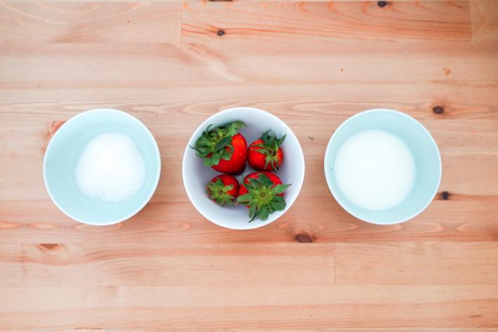 korean strawberry milk flatlay