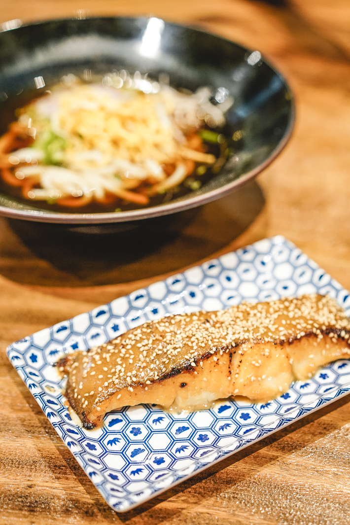 NUDE Grill Miso Halibut Udon