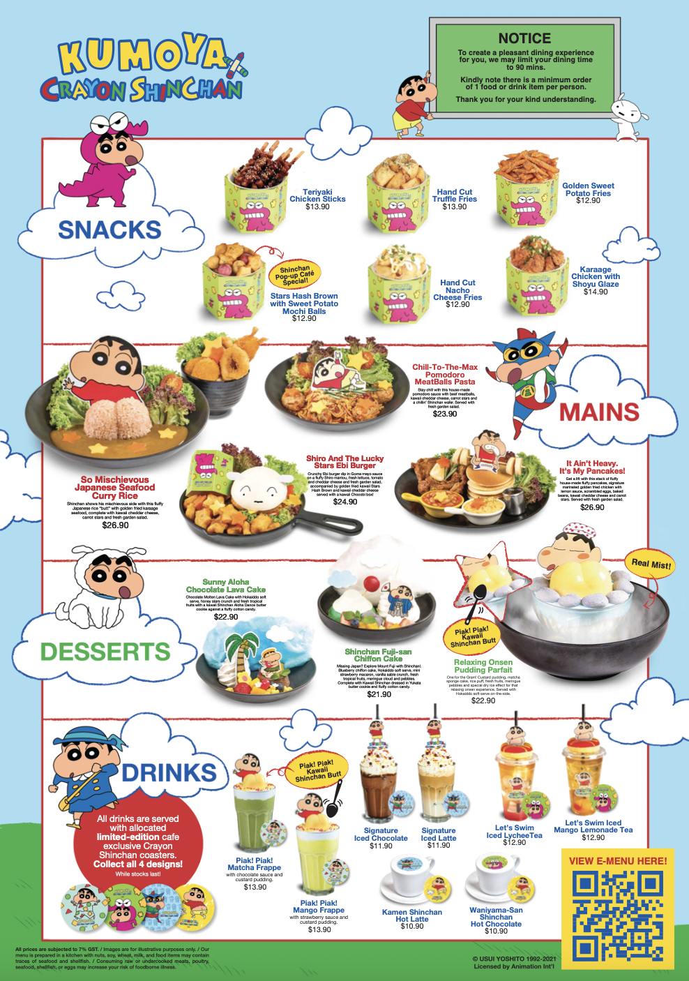 Crayon Shinchan Cafe Menu