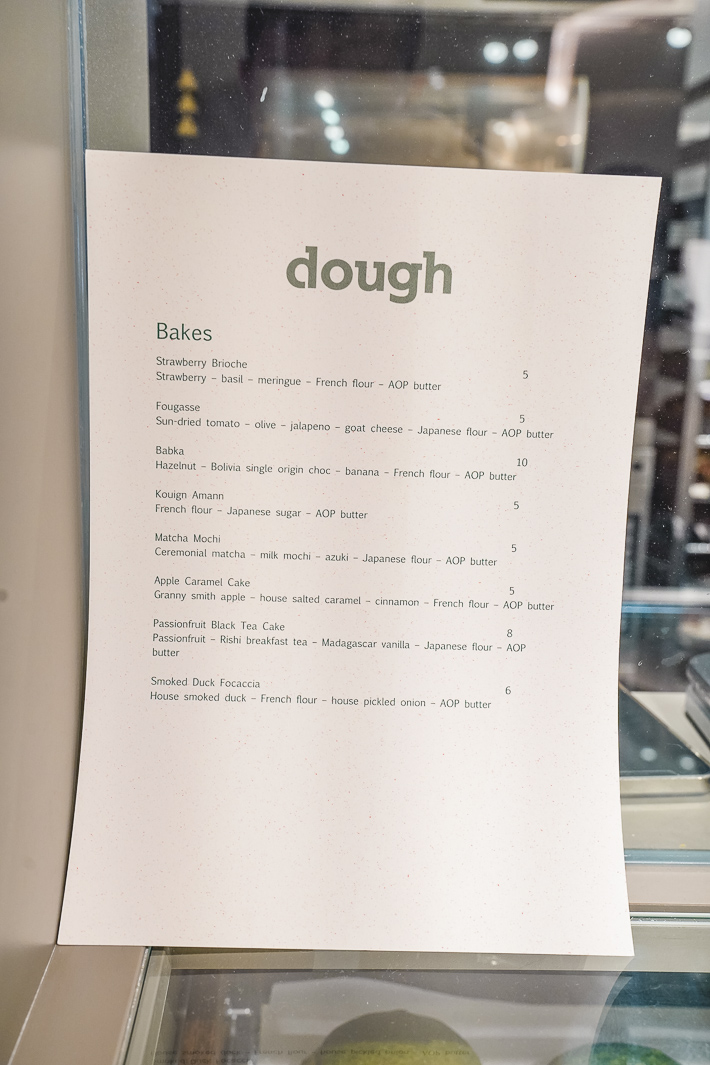Dough Bakery Menu