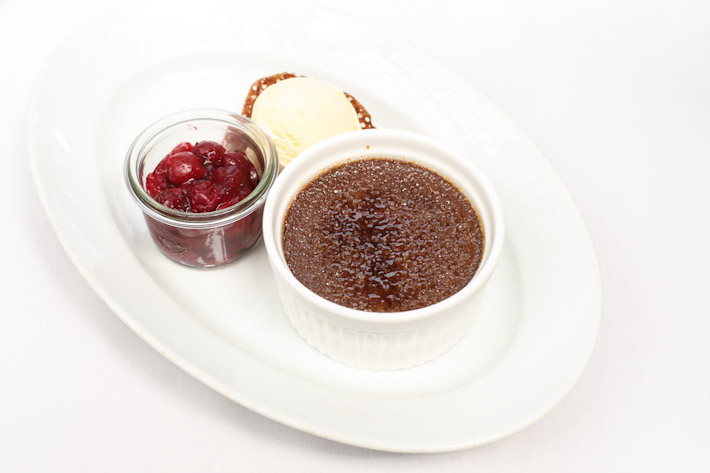 mezza9 Chocolate & Ginger Creme Brulee