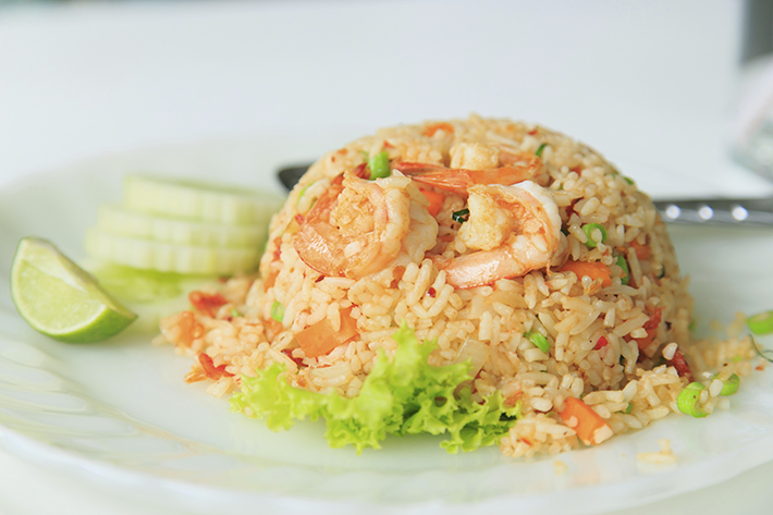 Shrimp fried rice on white plate